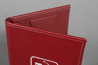 sewn stitched leather menu Red