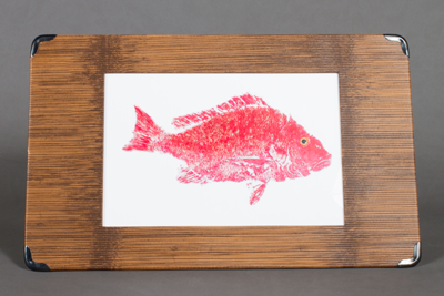 menu board metal corner Red fish